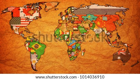World trade organization member countries flags stock illustration world trade organization member countries flags on world map with national borders gumiabroncs Image collections