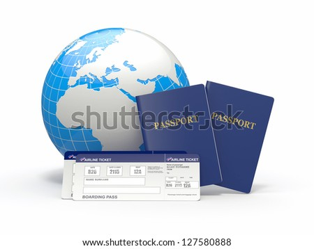 World travel. Earth, airline tickets and passport on white background. 3d - stock photo