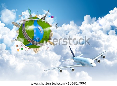 world travel globe concept with landmarks and plane flying above the clouds - stock photo