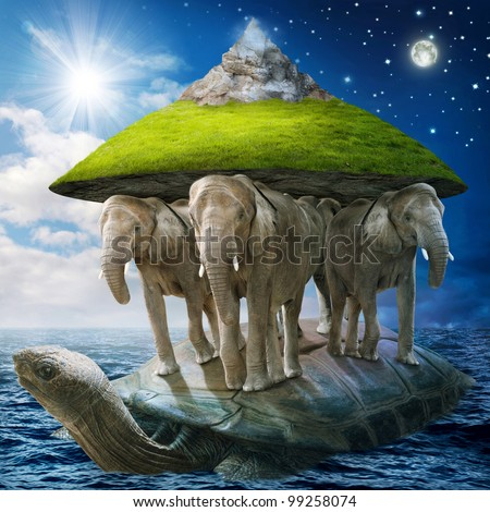 World turtle carrying the elephants that carries the earth upon their backs - stock photo