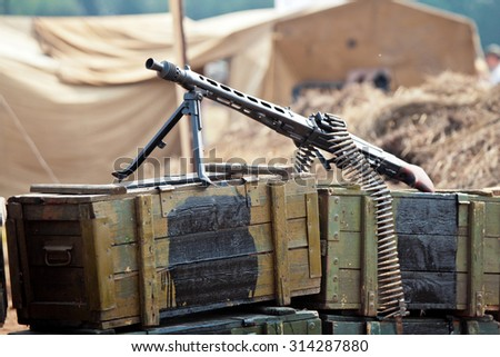 World war 2 background. Weapon on the boxes of ammunition - stock photo