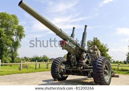 world war 2 cannon on german bunker utility in normandy france