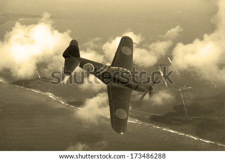 World War 2 era fighter plane. Japanese aircraft N1K-J Shiden known as 'George' by the allies. Flying over the pacific Island of Saipan. (Computer Image, Artist's impression) - stock photo