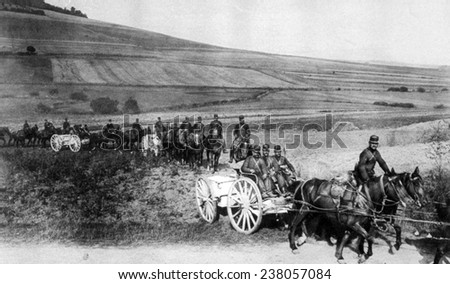 World War I, a battery of French artillery going into position, 1915