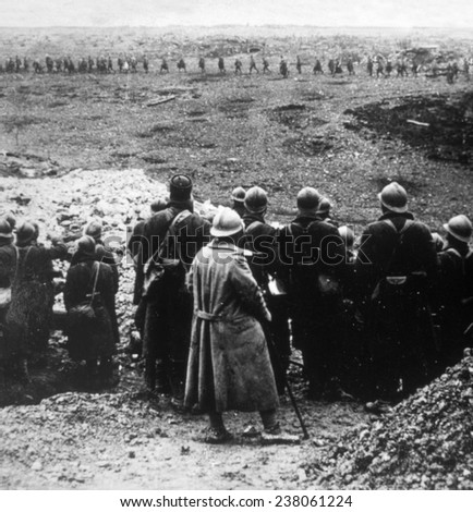 World War I, French reserves watching their comrades marching into 'the valley of the shadow,' ca. 1917