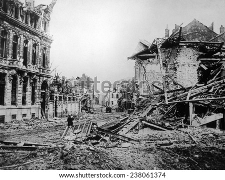 World War I, the ruins of Armentieres, France, 1918, official British war photograph