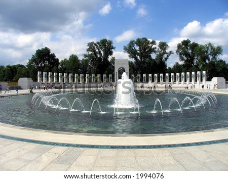 World War II Atlantic Campaign Monument With Fountains - stock photo