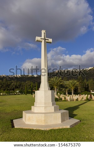 World War II cemetery cross  - stock photo