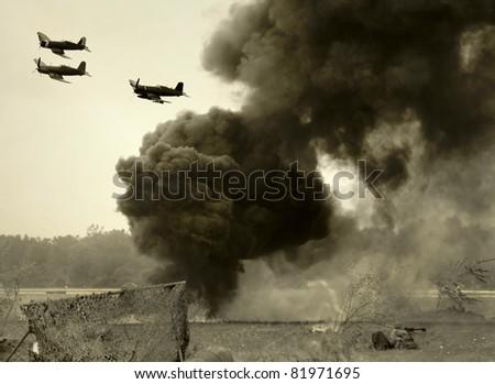 World War II era battlefront and aerial attack - stock photo
