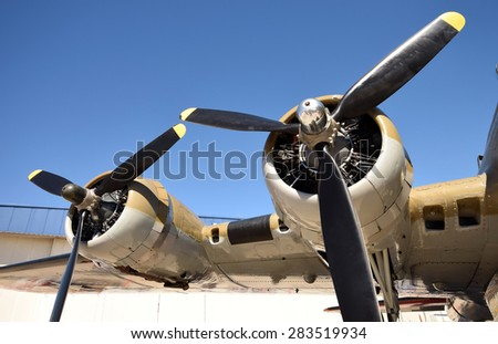 World War II era bomber wing and propellers - stock photo