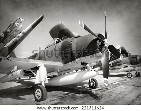 World War II era fighter planes in stained old photo - stock photo