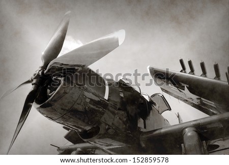World War II era Navy fighter plane with folded wings