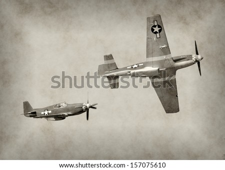 World War II fighter airplanes in flight - stock photo