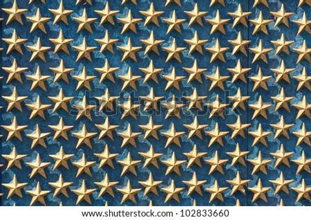 World War II Memorial stars detail - Washington DC United States - stock photo