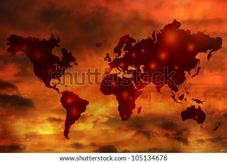 World war map apocalypse concept - stock photo