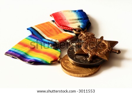 World War One Medals.  Victory Medal, the British and Canadian War medal and the 1914-15 Star Medal.