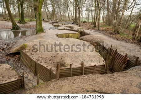 World War One Trenches, Flanders, Ypres, Belgium - stock photo