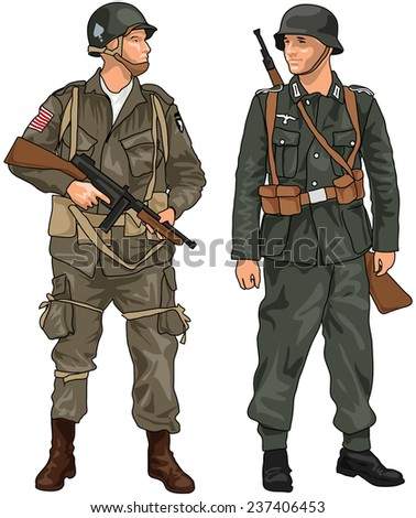 World War Two German and American Soldiers with Weapons Isolated on White Background