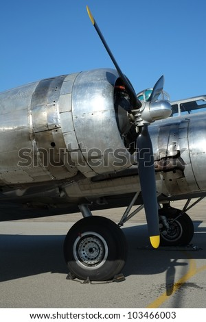 World War Two U. S. Air Force Boeing B-17G Flying Fortress: View of starboard outboard engine nacelle