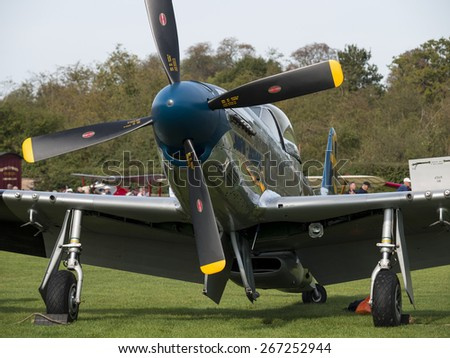 World war two vintage P51 Mustang fighter at the Shuttleworth Collection,Bedfordshire,UK. taken 26/09/2012 - stock photo