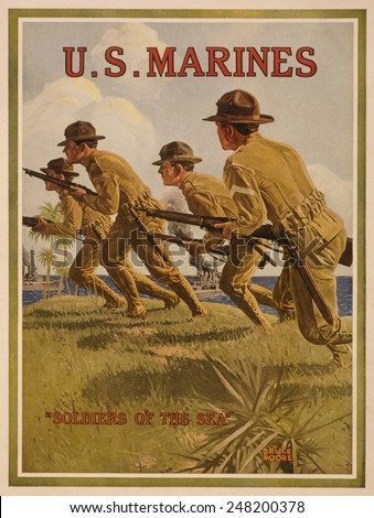 World War 1. U.S. Marines recruiting poster showing marines in a landing party and described as 'Soldiers of the sea'. 1917-18. - stock photo