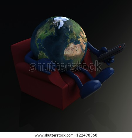 world watching television from the couch with remote control on black background, 3d illustration. Elements of this image furnished by NASA - stock photo