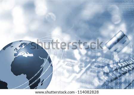 World wide Internet illustration with blue globe and space for text - stock photo