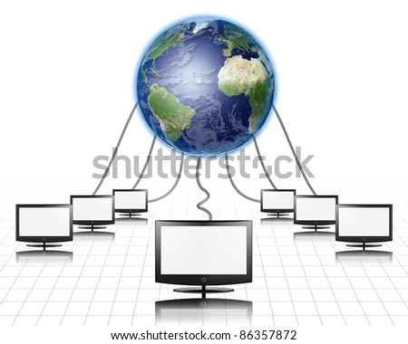 World Wide Web Flat Panel Connected - stock photo