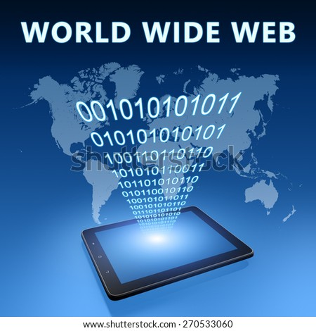 World Wide Web illustration with tablet computer on blue background - stock photo