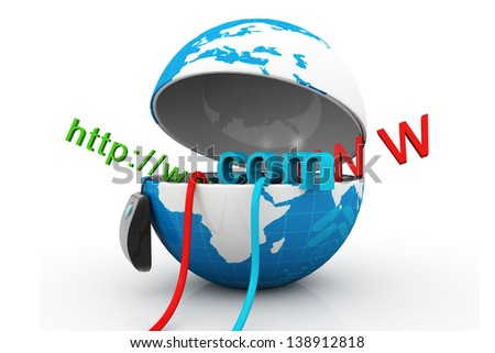 World wide web internet concept, opened Earth globe with computer mouse and www isolated on white background - stock photo