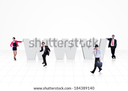 World wide web logo (www) with business people surround it, isolated on white - stock photo