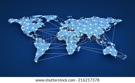 World-wide web on blue background (done in 3d) - stock photo