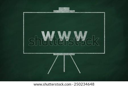 World wide web writed on blackboard with chalk - stock photo