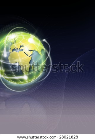 world with international movements as shooting stars - stock photo