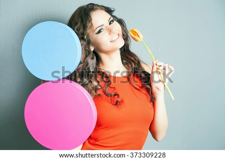 Beautiful Happy Woman Received Flower Bouquet Stock Photo ...