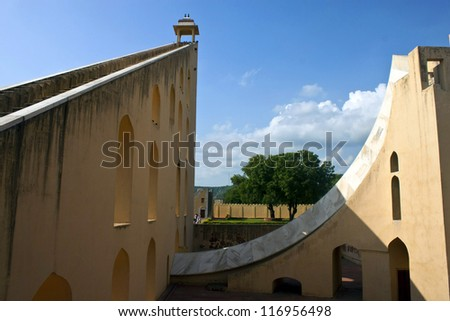 Worlds biggest sundial - astrological and astronomical instrument at Jantar Mantar, Jaipur, India