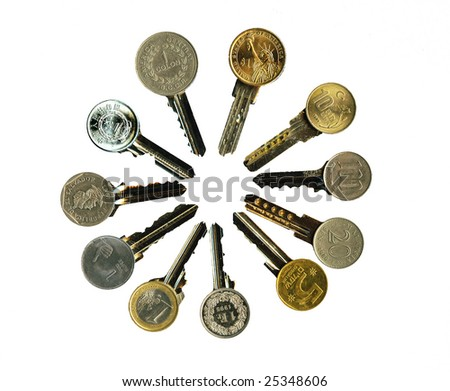 Worldwide financial latchkeys image isolated, over white.