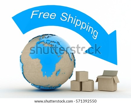 worldwide free shipping .3d Render Illustration.