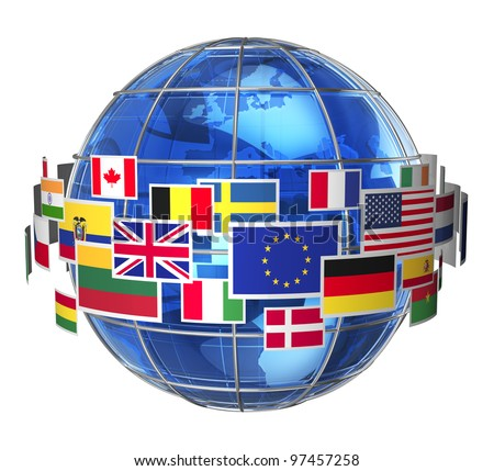 Worldwide international communication concept: cloud of colorful state flags around blue glass Earth globe isolated on white background - stock photo