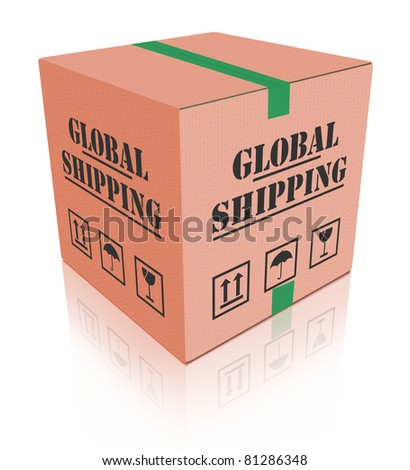worldwide shipping cardboard box delivery global order shipment from internet web shop