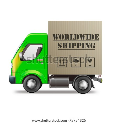worldwide shipping of online internet order from web shop in delivery truck with cardboard box package global international trade