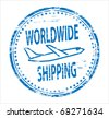 worldwide shipping rubber stamp - stock photo