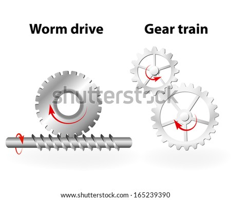 Worm drive and gear train - stock photo