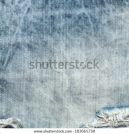 Worn blue denim jeans texture, background close up. Jeans background - stock photo