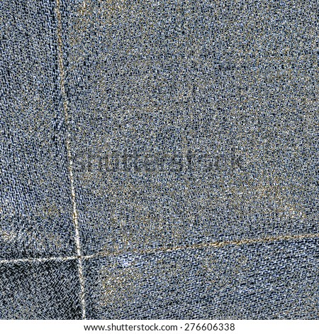 worn gray-blue jeans background,seams - stock photo