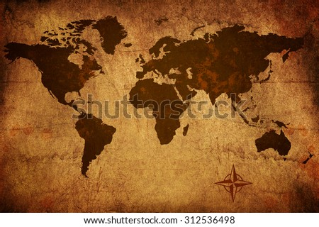 Worn grungy old world map - stock photo