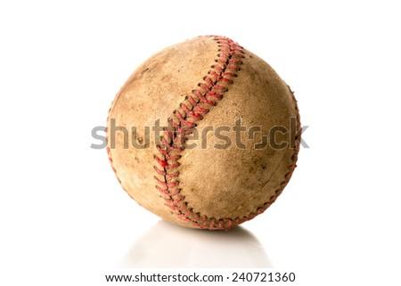 Worn, old baseball isolated on white. - stock photo