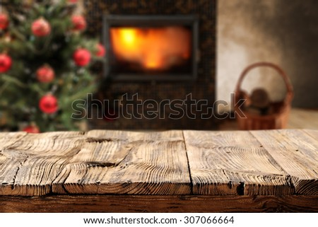worn old board place and fireplace and retro room  - stock photo
