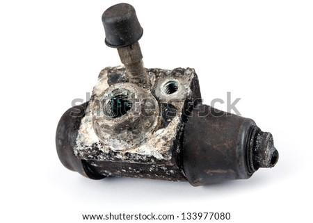 Worn out double piston wheel brake cylinder - stock photo