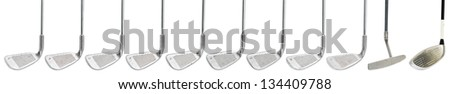 worn out golf clubs on white background - stock photo
